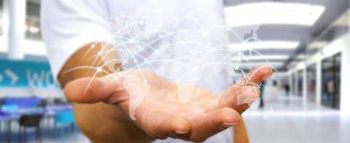 Affärsmannen som rymmer det globala nätverket, och datautbyten '3D sliter Royaltyfri Foto