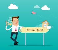 Affärsmannen som rymmer en kopp kaffe, står bredvid ett trätecken med  för here†för text`-kaffe Isolerad vektorillustration Royaltyfria Bilder
