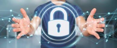Affärsmannen som skyddar hans data med säkerhetsmanöverenheten 3D, sliter Royaltyfria Foton