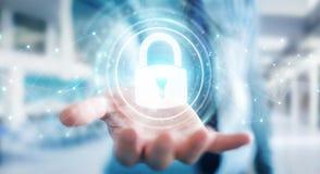 Affärsmannen som skyddar hans data med säkerhetsmanöverenheten 3D, sliter Royaltyfri Fotografi