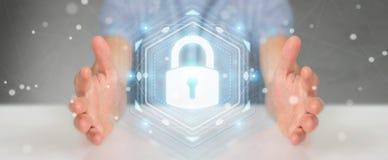 Affärsmannen som skyddar hans data med säkerhetsmanöverenheten 3D, sliter Royaltyfria Bilder