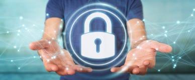 Affärsmannen som skyddar hans data med säkerhetsmanöverenheten 3D, sliter Royaltyfri Bild