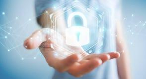 Affärsmannen som skyddar hans data med säkerhetsmanöverenheten 3D, sliter Arkivbilder