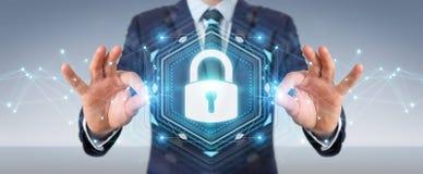 Affärsmannen som skyddar hans data med säkerhetsmanöverenheten 3D, sliter Arkivfoton