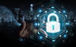 Affärsmannen som skyddar hans data med säkerhetsmanöverenheten 3D, sliter Royaltyfri Foto