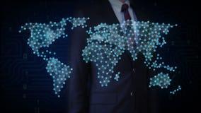 Affärsmannen som trycker på den trådlösa kommunikationssymbolen, gör den globala världskartan, internet av saker Finansiell tekno stock illustrationer