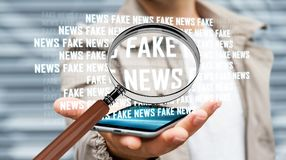 Affärsmannen som upptäcker, fejkar tolkningen för information 3D om nyheterna Arkivfoto