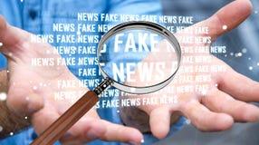 Affärsmannen som upptäcker, fejkar tolkningen för information 3D om nyheterna Royaltyfri Bild