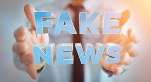 Affärsmannen som upptäcker, fejkar tolkningen för information 3D om nyheterna Royaltyfri Foto
