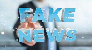 Affärsmannen som upptäcker, fejkar tolkningen för information 3D om nyheterna Arkivfoton