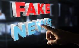 Affärsmannen som upptäcker, fejkar tolkningen för information 3D om nyheterna Royaltyfri Fotografi