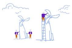 Affärsmannen som vrider energi för torn för vindturbin, återanvänder teknologilaget som det funktionsdugliga begreppet skissar de vektor illustrationer