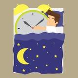 Affärsmannen sover med ringklockan royaltyfri illustrationer