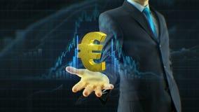 Affärsmannen, tillväxt för symbolen för affärsmanhålleuroet förestående av kostnadsförslag, valuta, utbyte växer upp begrepp lager videofilmer