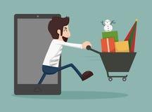 Affärsmanonline-shopping, e-kommers begrepp stock illustrationer