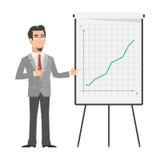 Affärsmanpunkter på flip-diagram stock illustrationer
