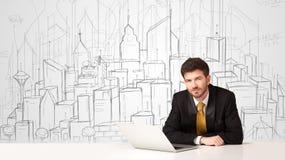 Affärsmansammanträde på den vita tabellen med hand drog byggnader Arkivfoto
