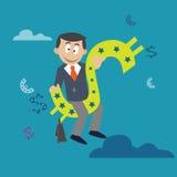 Affärsmansammanträde på en dollar abstraktion stock illustrationer