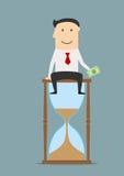 Affärsmansammanträde på ett timglas med pengar royaltyfri illustrationer