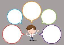 Affärsmanserie - anförandebubbla Arkivfoto