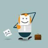 Affärsmanskinnet hans verkliga framsida och innehav skyler över brister med den lyckliga emoticonen Vektor Illustrationer