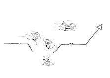 Affärsmanspring på affärslinjen graf och falla ner till jordningen Affärsinvestering, framgångbegrepp Stock Illustrationer
