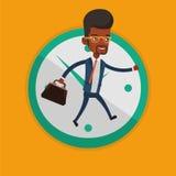 Affärsmanspring på klockabakgrund vektor illustrationer