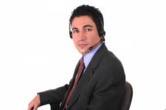affärsmanstolshörlurar med mikrofon Royaltyfri Foto