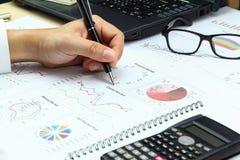 AffärsmanSummary rapport och finansiell analyserande huvudmarke Royaltyfria Foton