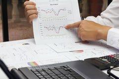AffärsmanSummary rapport och finansiell analyserande produktmarke Arkivfoton