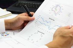 AffärsmanSummary rapport och finansiellt analyserande marknadsplan Royaltyfria Bilder
