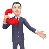 AffärsmanTalking Represents Telephone appell och tolkning för appeller 3d Arkivfoto