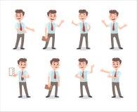 Affärsmantecken - uppsättning Levande tecken Manlig rollkonstruktör Olika manställingar Fastställd roll för vektor stock illustrationer