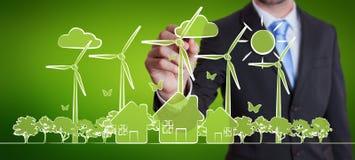 Affärsmanteckningsförnybara energikällor skissar Royaltyfria Bilder