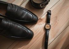 Affärsmantillbehör Stil för man` s Tillbehör för man` s: Fjäril för man` s, skor för man` s, klockor för man` s Royaltyfri Foto