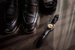 Affärsmantillbehör Stil för man` s Tillbehör för man` s: Fjäril för man` s, skor för man` s, klockor för man` s Royaltyfria Bilder