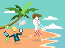 Affärsmantjänstledigheter allt och banhoppning till stranden semester- och feriebegrepp Arkivbilder