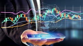 Affärsmanusng en smartphone med en 3d framför börsen tr Royaltyfri Bild