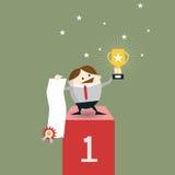 Affärsmanvinnareanseende i det första stället på ett podium Royaltyfri Bild