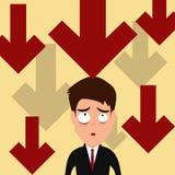 Affärsmanvisningen tummar ner Ner gör trendgrafen den oroade affärsmannen Arkivfoto