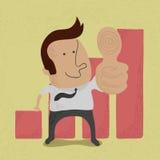 Affärsmanvisningen tummar upp royaltyfri illustrationer