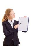 affärsmappen föreställer kvinnan Arkivbild