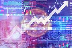 Affärsmarknadsföring och finansiell bakgrund med aktiemarknaden da Arkivfoto