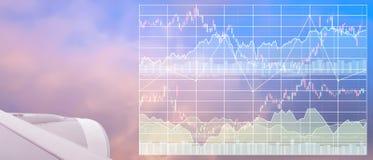 Affärsmarknadsföringsdata av turismbransch med grafen och diagrammet Arkivbild