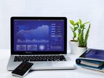 Affärsmateriel på mobila enheter Fotografering för Bildbyråer