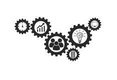 Affärsmekanismbegrepp Abstrakt bakgrund med förbindelsekugghjul och symboler för strategi, forskning, begrepp vektor Arkivbilder