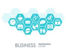 Affärsmekanismbegrepp Abstrakt bakgrund med förbindelsekugghjul och symboler för strategi, service, analytics Arkivfoton