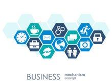 Affärsmekanismbegrepp Abstrakt bakgrund med förbindelsekugghjul och symboler för strategi, service, analytics Arkivbild