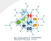 Affärsmekanismbegrepp Abstrakt bakgrund med förbindelsekugghjul och symboler för strategi, service, analytics Stock Illustrationer