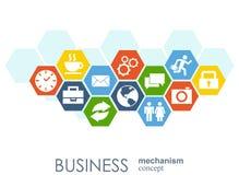 Affärsmekanismbegrepp Abstrakt bakgrund med förbindelsekugghjul och symboler för strategi, service, analytics Royaltyfri Illustrationer
